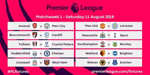 Расписание первого тура Премьер-Лиги